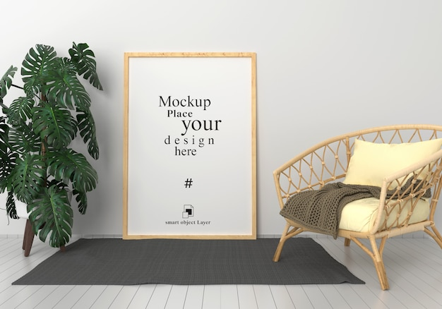 Mockup blank photo frame in modern living room