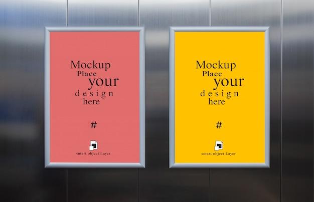 Mockup blank photo frame in the wall elevator