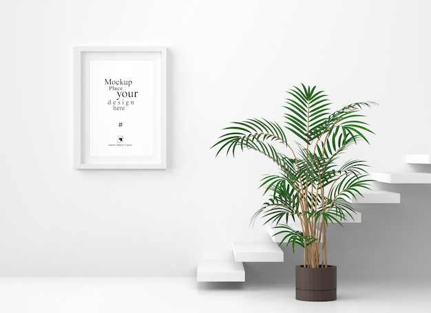 Mockup blank photo frame in white wall background, template psd