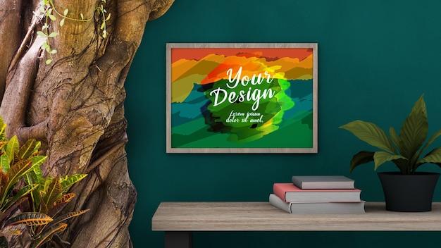 ヴィンテージの自然な部屋のモックアップ空白の写真の木製フレーム
