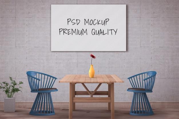 Mockup blank poster interior room of minimal style dining room. 3d render