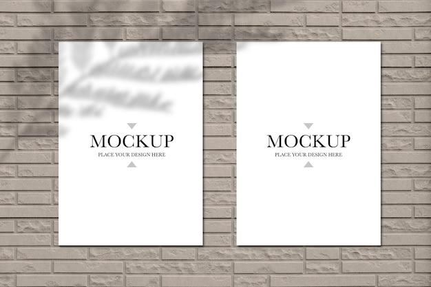 Mockup blank posters on brick wall