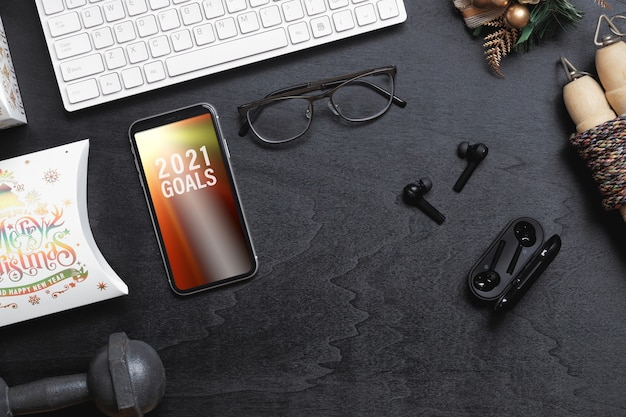 Mockup blank smartphone for new year resolutions healthy background concept