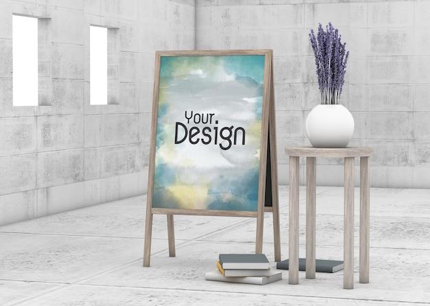 ヴィンテージの部屋のデザインのモックアップ空白の立っている写真の木製フレーム