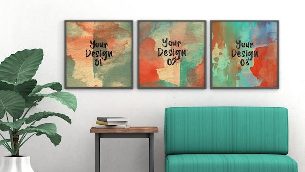 ヴィンテージの部屋のデザインのモックアップ空白の3つの正方形のフレーム