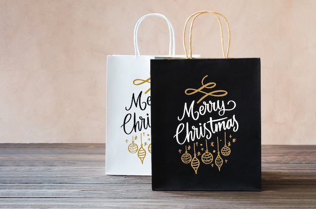 Mockup of blank white and black paper packages