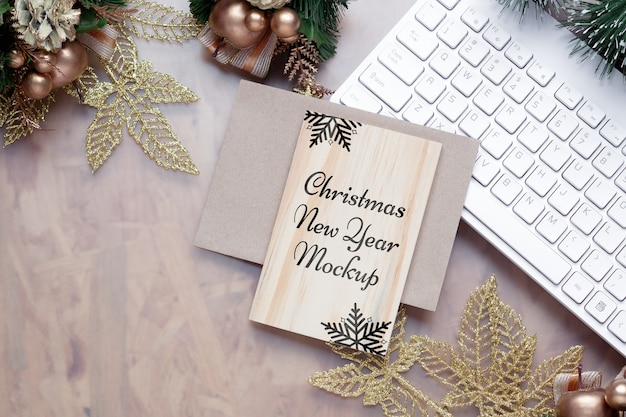 Mockup blank wood board for christmas new year greeting card