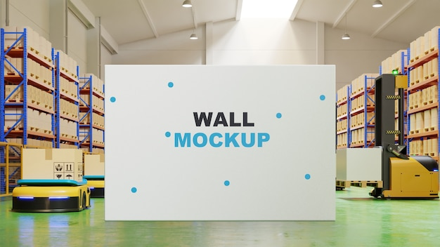 Mockup board in factory interior 3d rendering
