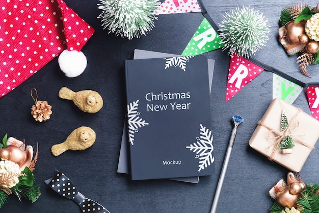 Mockup book cover for christmas and new year