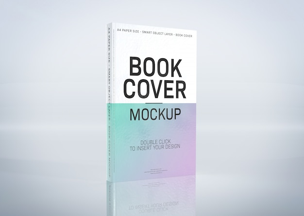 A mockup of a book cover on grey surface