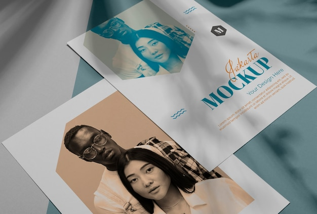 Mockup brochure shadow overlay