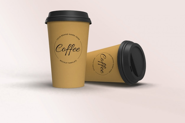 Mockup of brown paper coffee cup with cap