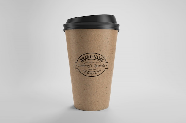 Mockup of brown paper eco coffee cup with cap