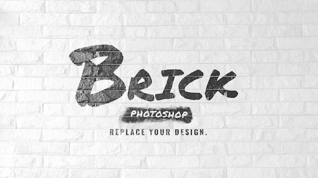 Mockup brush logo on white brick wall