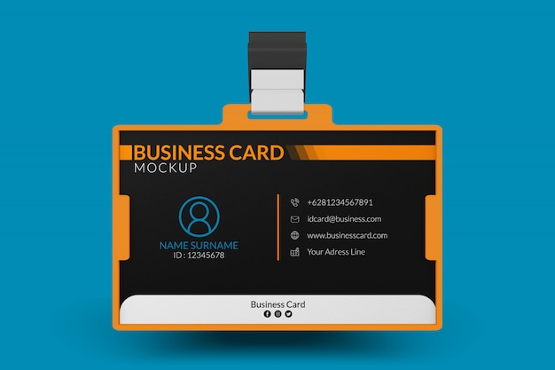 Mockup of business card in id holder