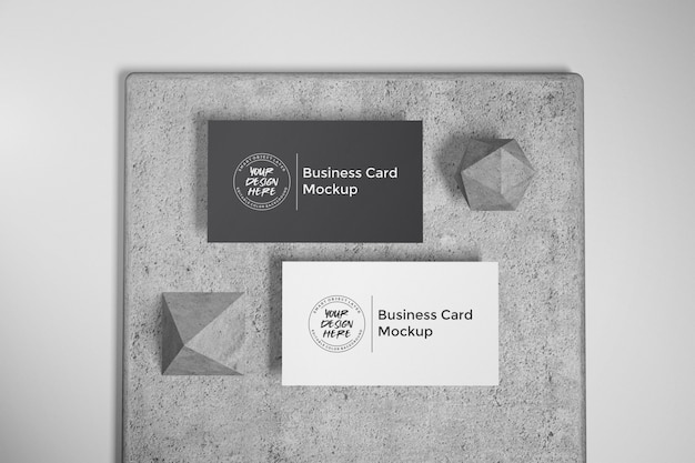 Mockup of business card on stone