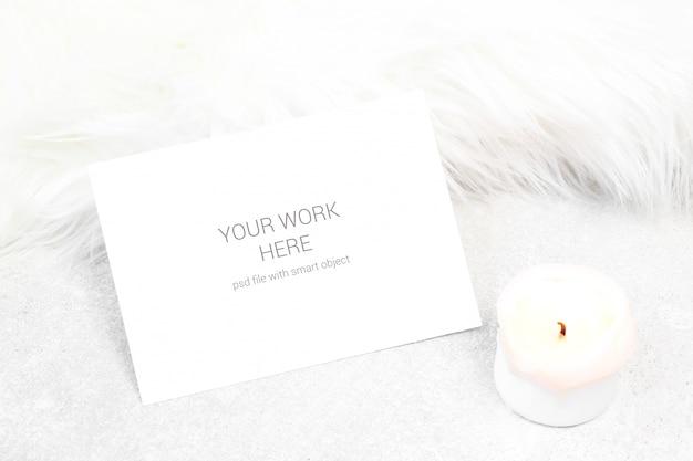 Mockup визитные карточки со свечой