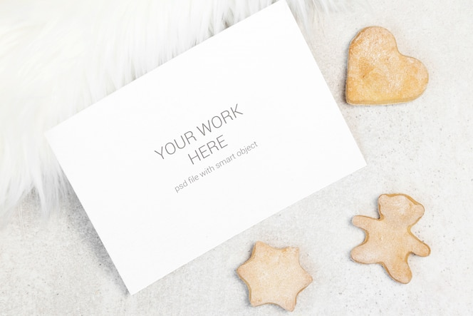 mockup business card with cookies