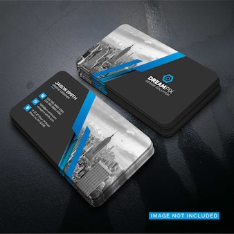 Mockup of business card with photo of city