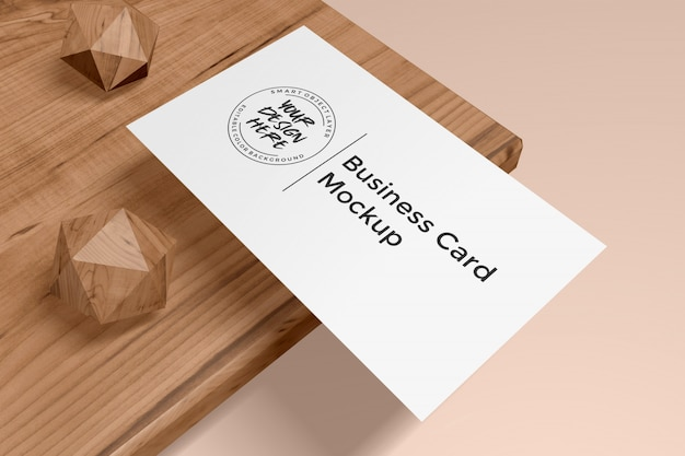 Mockup of business card on wood