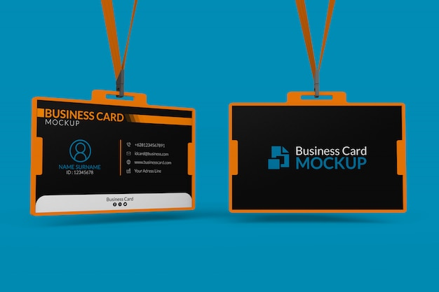 Mockup of business cards in id holder