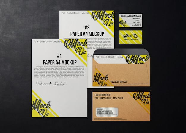 Mockup business stationery on a dark background