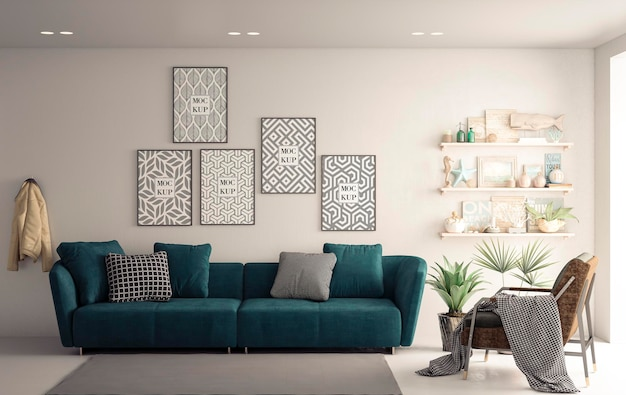 Mockup canvas frames in white living room with green sofa
