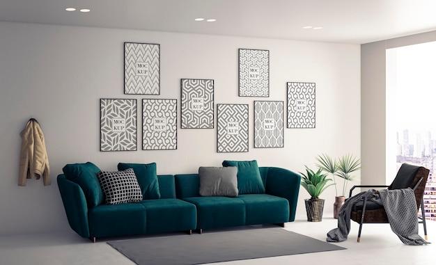 Mockup canvas frames in white living room