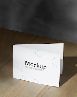 Mockup card on the table with shadows