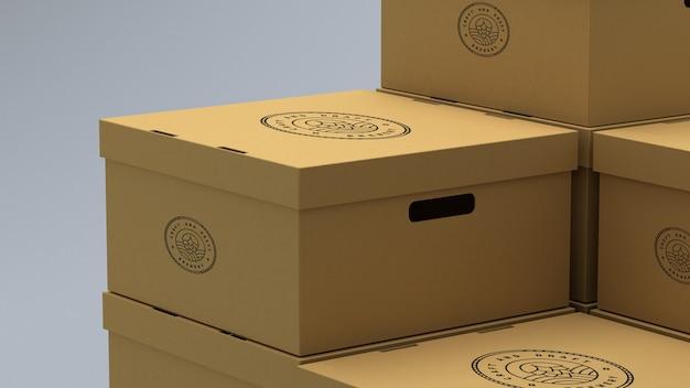Mockup of cardboard boxes