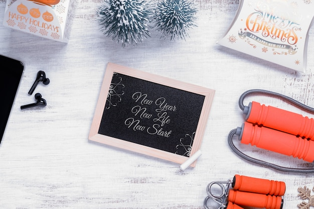 Mockup chalkboard for new year resolutions healthy background concept