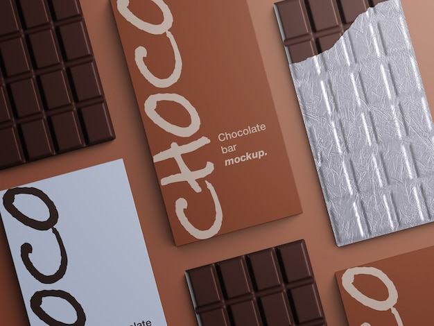 Mockup of chocolate bar packaging isolated