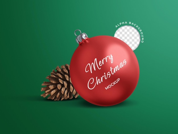 Mockup of christmas ball with cone decoration holiday concept isolated