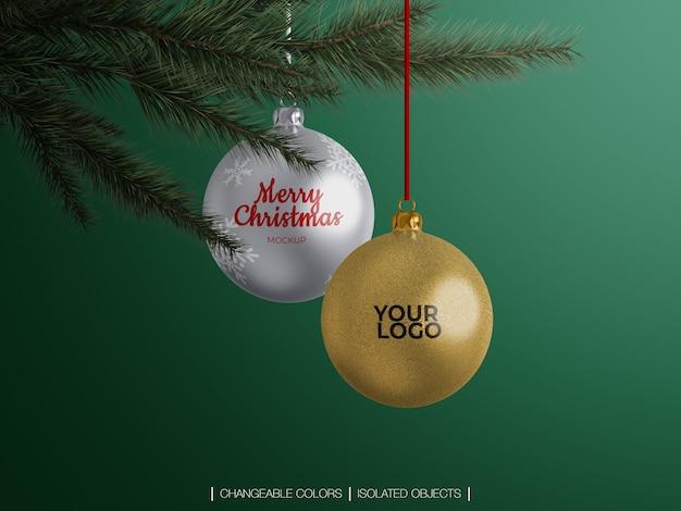 Mockup of christmas balls decoration on a christmas tree branch