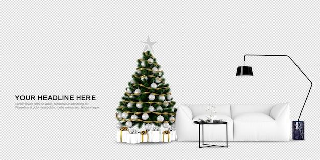 모형 크리스마스 크리스마스 트리 디자인 잎 d 램프 식물 인테리어 인테리어 디자인 실내 안락 의자 렌더링 d 렌더링