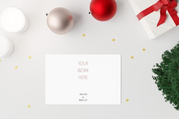 Mockup of christmas greeting card with decoration