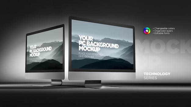 Мокап крупным планом просмотреть экраны монитора