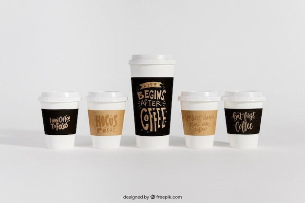 Mockup of coffee cups in different sizes