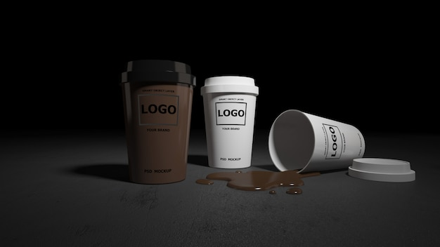 Mockup of coffee cups rendering