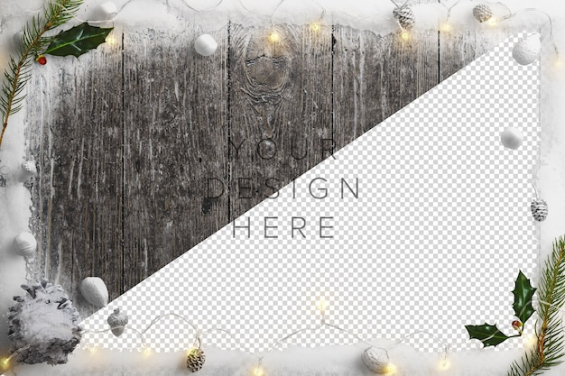 Mockup cold winter nature scene with snow, fairy lights, holly and pinecones