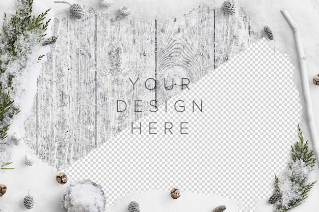 Mockup cold winter nature scene with snow, fir branches, pinecones and acorns