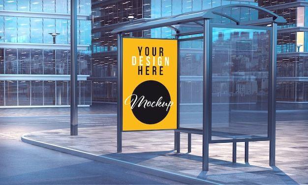 Mockup of commercial poster in bus stop of city downtown