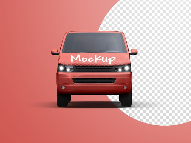 Mockup of commercial vehicle delivery van isolated
