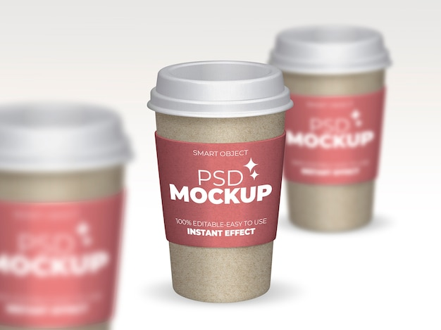 Mockup composition of coffee cups