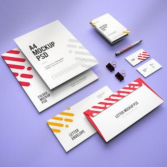 Mockup of corporate stationary branding design with changeable colors