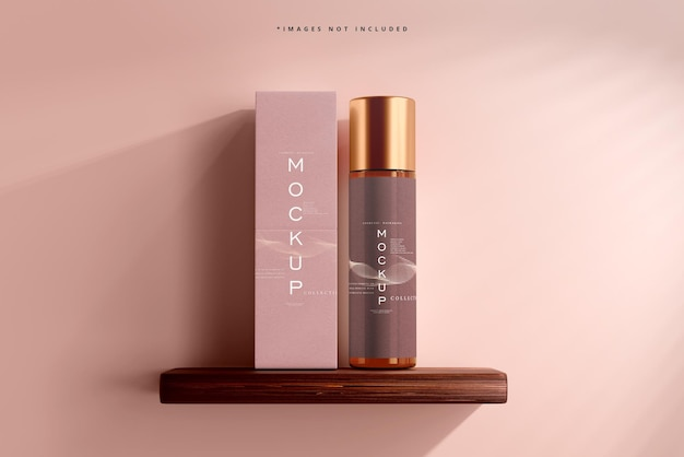 Mockup of cosmetic bottle and box on display