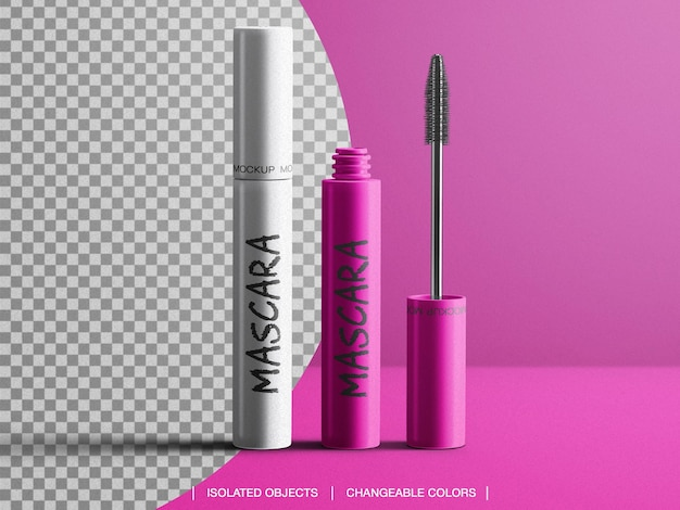Mockup of cosmetic tube mascara makeup brush packaging isolated