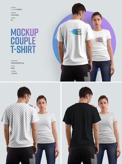 Mockup couple tshirt легко настраивать цвета