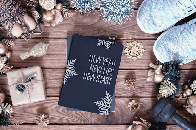 新年の抱負健康コンセプトのモックアップカバーブック
