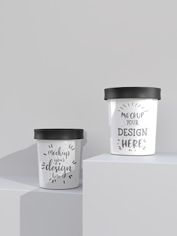 Mockup cup ice cream. packaging template mockup for ice cream, yogurt, pudding, snack, sweets, dessert